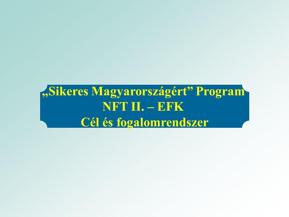 """""""Sikeres Magyarországért Program NFT II. – EFK Cél és fogalomrendszer"""