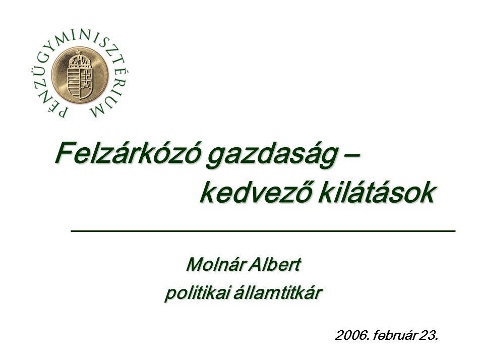 Felzárkózó gazdaság – kedvező kilátások 2006. február 23. Molnár Albert politikai államtitkár