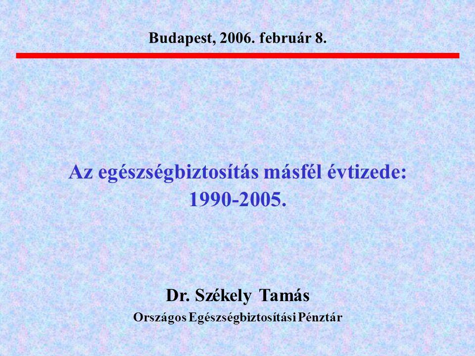 Az egészségbiztosítás másfél évtizede: 1990-2005. Dr. Székely Tamás Országos Egészségbiztosítási Pénztár Budapest, 2006. február 8.