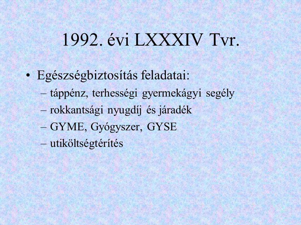 1992. évi LXXXIV Tvr. Egészségbiztosítás feladatai: –táppénz, terhességi gyermekágyi segély –rokkantsági nyugdíj és járadék –GYME, Gyógyszer, GYSE –ut