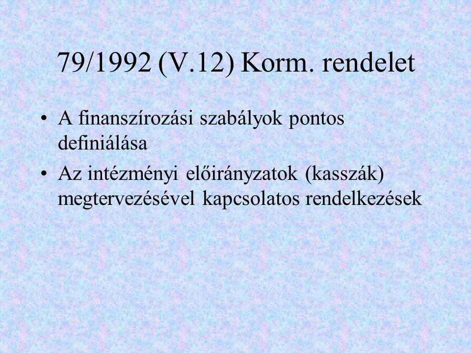 79/1992 (V.12) Korm. rendelet A finanszírozási szabályok pontos definiálása Az intézményi előirányzatok (kasszák) megtervezésével kapcsolatos rendelke