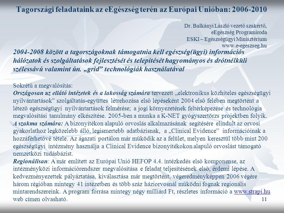 11 Tagországi feladataink az eEgészség terén az Európai Unióban: 2006-2010 Dr.