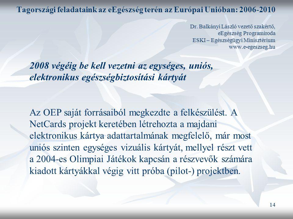 14 Tagországi feladataink az eEgészség terén az Európai Unióban: 2006-2010 Dr.