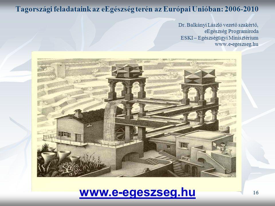 16 Tagországi feladataink az eEgészség terén az Európai Unióban: 2006-2010 Dr.