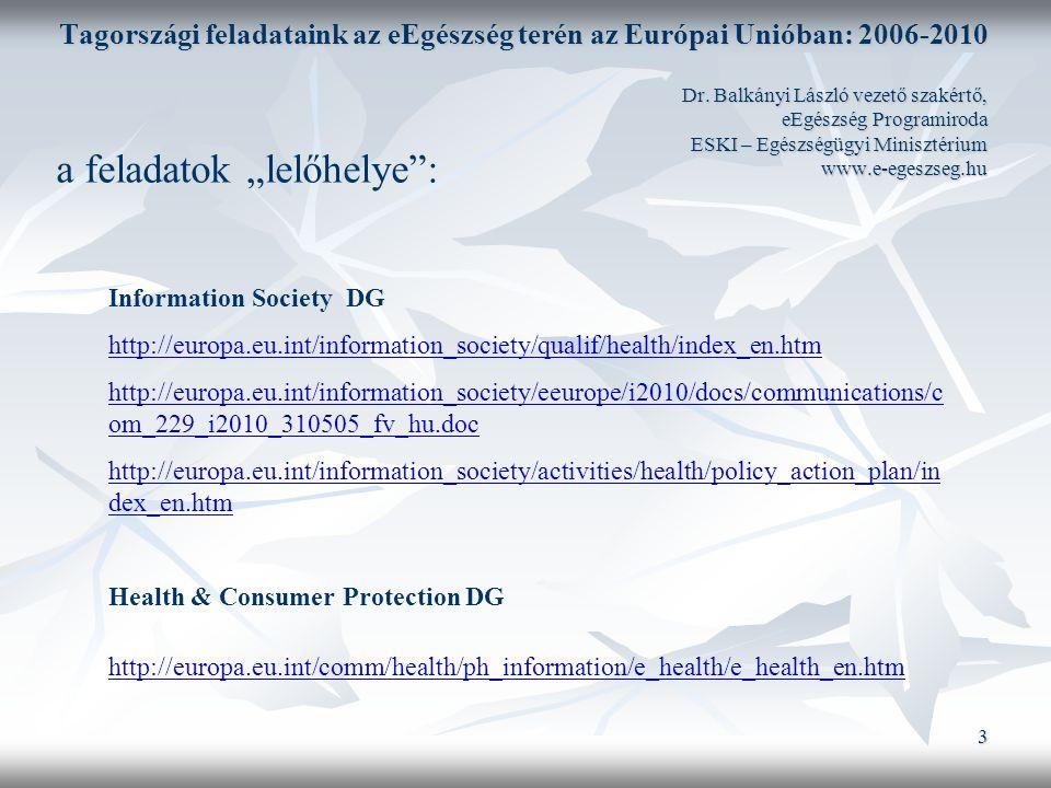 4 Tagországi feladataink az eEgészség terén az Európai Unióban: 2006-2010 Dr.