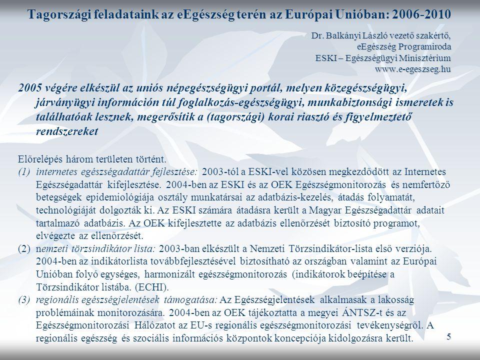 5 Tagországi feladataink az eEgészség terén az Európai Unióban: 2006-2010 Dr.