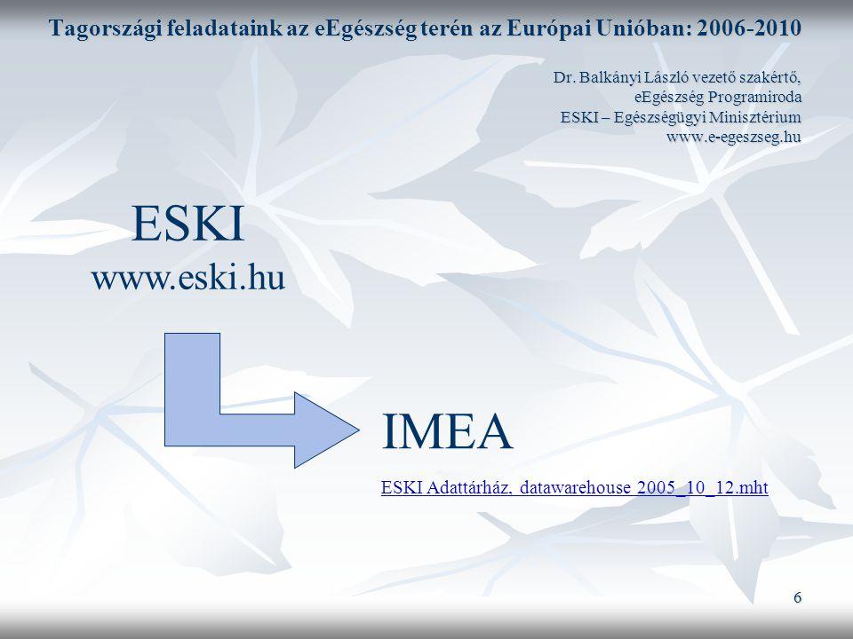 6 Tagországi feladataink az eEgészség terén az Európai Unióban: 2006-2010 Dr.