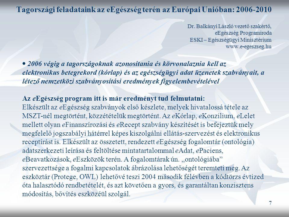 7 Tagországi feladataink az eEgészség terén az Európai Unióban: 2006-2010 Dr.