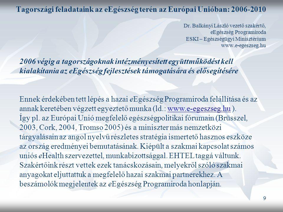 9 Tagországi feladataink az eEgészség terén az Európai Unióban: 2006-2010 Dr.