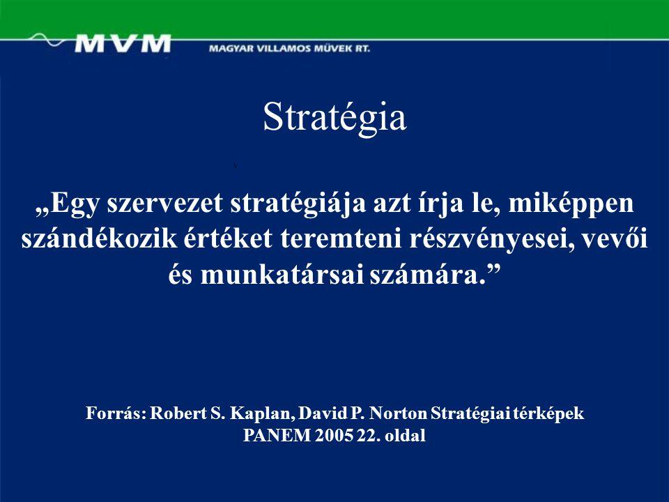 """Stratégia """"Egy szervezet stratégiája azt írja le, miképpen szándékozik értéket teremteni részvényesei, vevői és munkatársai számára."""" Forrás: Robert S"""