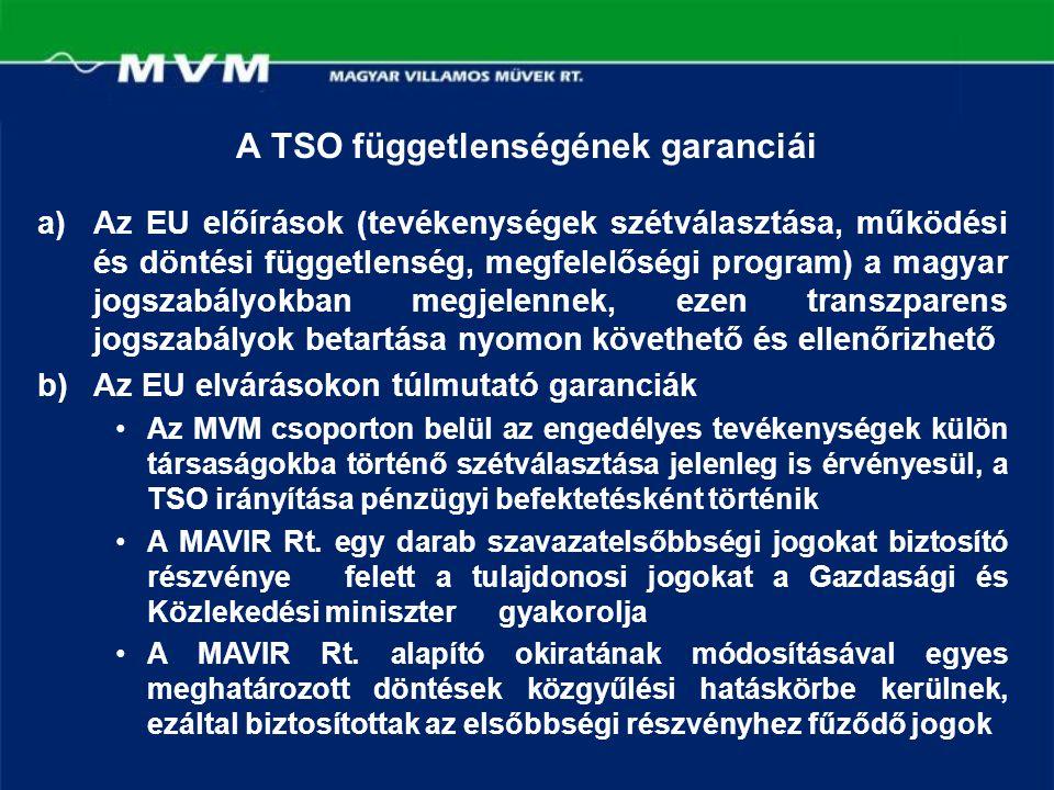 A TSO függetlenségének garanciái a)Az EU előírások (tevékenységek szétválasztása, működési és döntési függetlenség, megfelelőségi program) a magyar jo