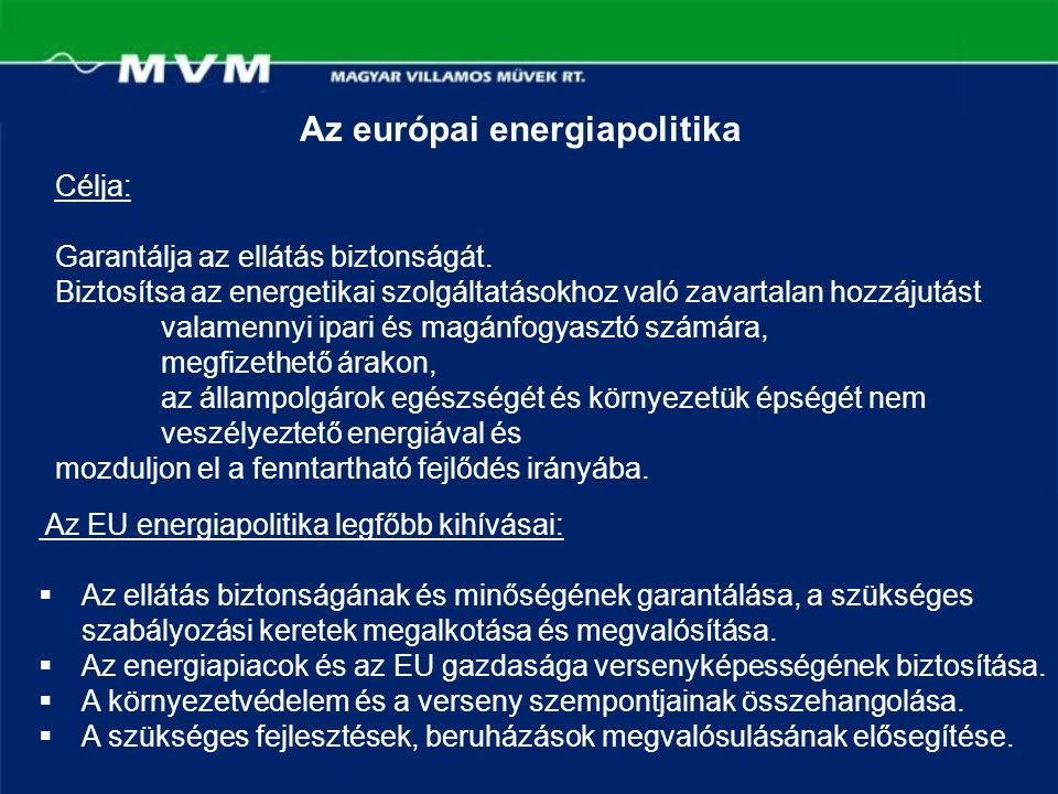 Az európai energiapolitika Az EU energiapolitika legfőbb kihívásai:  Az ellátás biztonságának és minőségének garantálása, a szükséges szabályozási ke