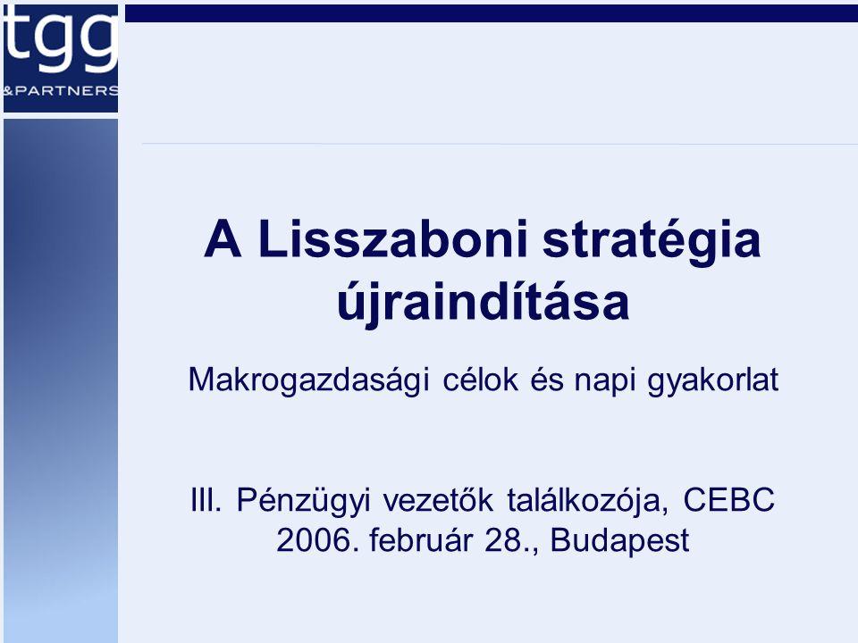 Országcsoportok Társak és versenytársak –A régió országai: Cz, Sk, Sl, P, H –GDP-ben, versenyképességben hasonló országok: P, GR Tipikus high-end feladatok (SF, S, DK) –A munkaerő-kínálat növelése –A verseny fokozása Tipikus low-end feladatok (CZ, SK, PL, GR): hasonlóak Magyarországéhoz