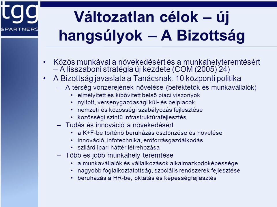 Változatlan célok – új hangsúlyok – A Bizottság Közös munkával a növekedésért és a munkahelyteremtésért – A lisszaboni stratégia új kezdete (COM (2005