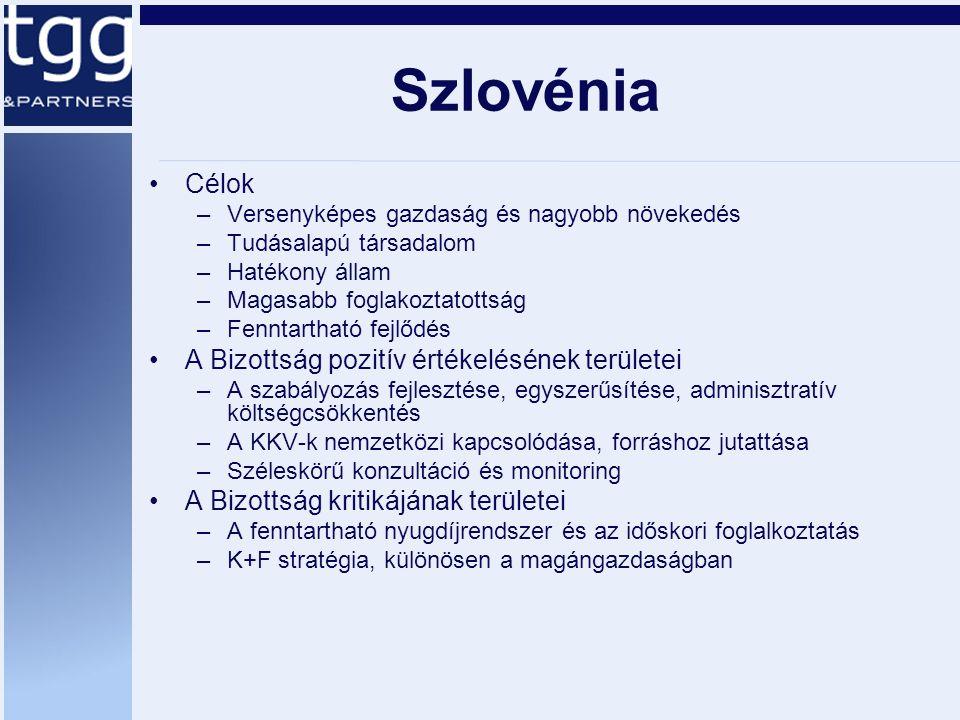 Szlovénia Célok –Versenyképes gazdaság és nagyobb növekedés –Tudásalapú társadalom –Hatékony állam –Magasabb foglakoztatottság –Fenntartható fejlődés