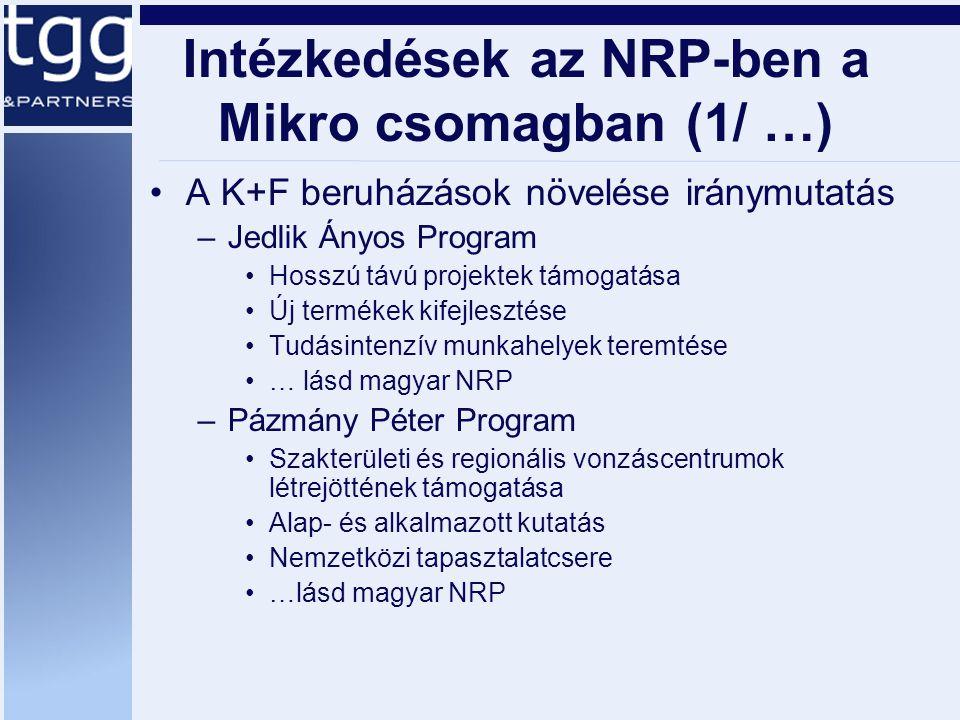 Intézkedések az NRP-ben a Mikro csomagban (1/ …) A K+F beruházások növelése iránymutatás –Jedlik Ányos Program Hosszú távú projektek támogatása Új termékek kifejlesztése Tudásintenzív munkahelyek teremtése … lásd magyar NRP –Pázmány Péter Program Szakterületi és regionális vonzáscentrumok létrejöttének támogatása Alap- és alkalmazott kutatás Nemzetközi tapasztalatcsere …lásd magyar NRP