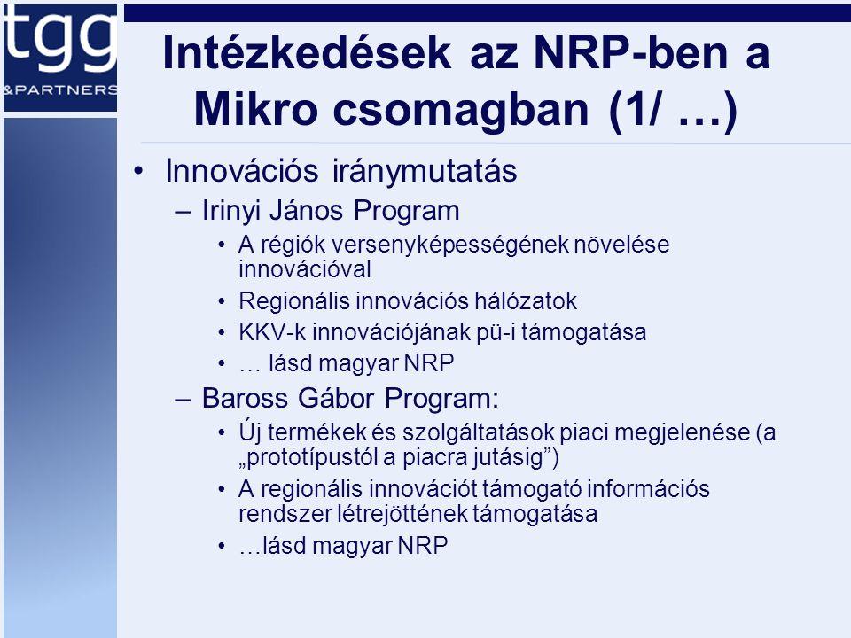 """Intézkedések az NRP-ben a Mikro csomagban (1/ …) Innovációs iránymutatás –Irinyi János Program A régiók versenyképességének növelése innovációval Regionális innovációs hálózatok KKV-k innovációjának pü-i támogatása … lásd magyar NRP –Baross Gábor Program: Új termékek és szolgáltatások piaci megjelenése (a """"prototípustól a piacra jutásig ) A regionális innovációt támogató információs rendszer létrejöttének támogatása …lásd magyar NRP"""