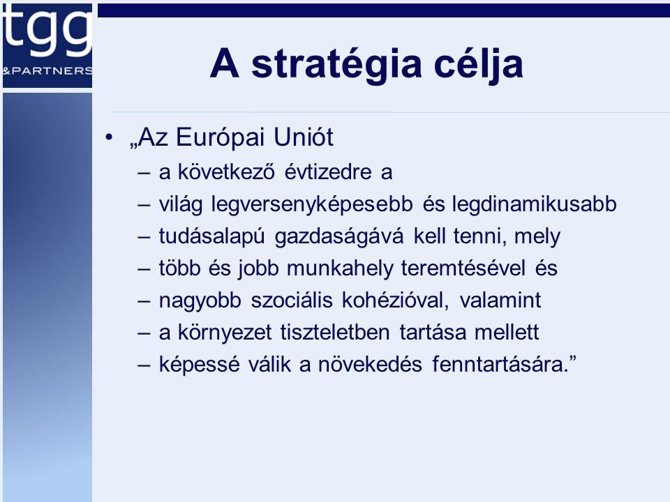 """A stratégia célja """"Az Európai Uniót –a következő évtizedre a –világ legversenyképesebb és legdinamikusabb –tudásalapú gazdaságává kell tenni, mely –több és jobb munkahely teremtésével és –nagyobb szociális kohézióval, valamint –a környezet tiszteletben tartása mellett –képessé válik a növekedés fenntartására."""