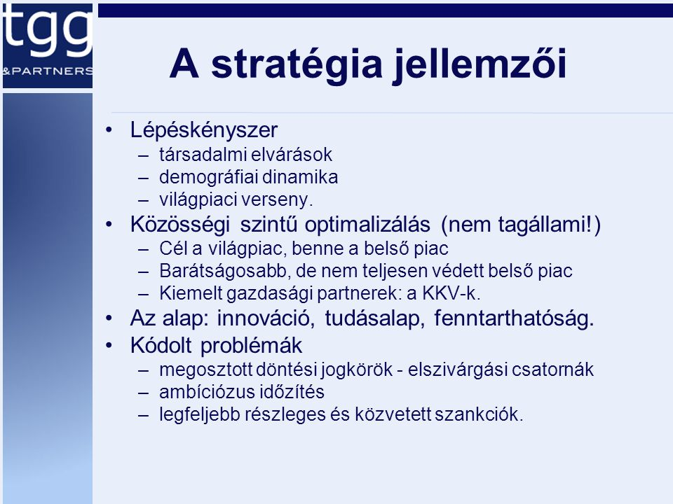 A stratégia jellemzői Lépéskényszer –társadalmi elvárások –demográfiai dinamika –világpiaci verseny. Közösségi szintű optimalizálás (nem tagállami!) –