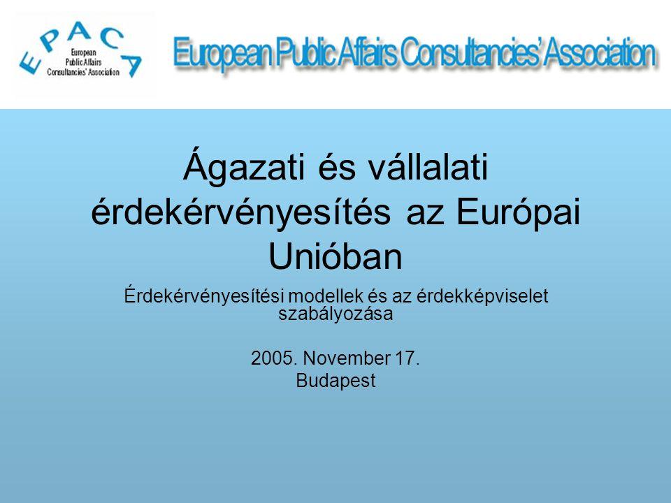 Ágazati és vállalati érdekérvényesítés az Európai Unióban Érdekérvényesítési modellek és az érdekképviselet szabályozása 2005.