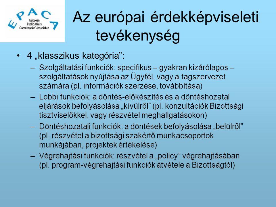 """Az európai érdekképviseleti tevékenység 4 """"klasszikus kategória : –Szolgáltatási funkciók: specifikus – gyakran kizárólagos – szolgáltatások nyújtása az Ügyfél, vagy a tagszervezet számára (pl."""
