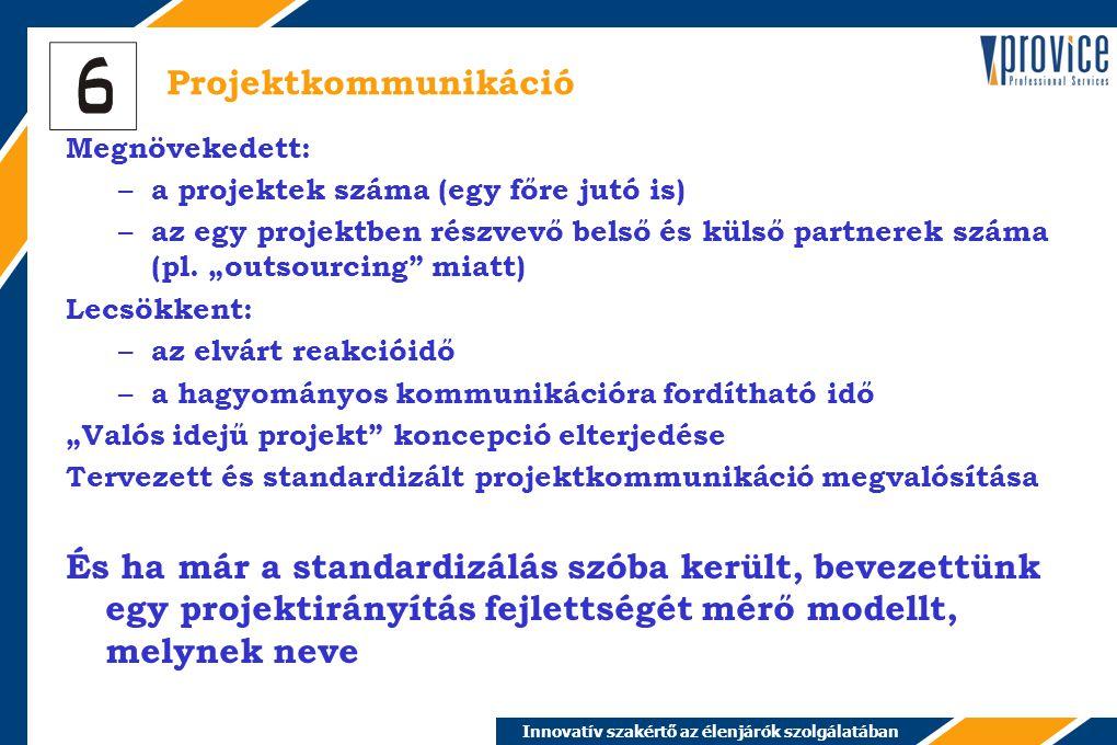Innovatív szakértő az élenjárók szolgálatában Projektkommunikáció Megnövekedett: – a projektek száma (egy főre jutó is) – az egy projektben részvevő belső és külső partnerek száma (pl.