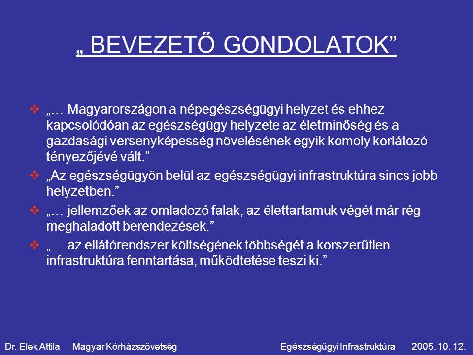 """"""" BEVEZETŐ GONDOLATOK  """"… Magyarországon a népegészségügyi helyzet és ehhez kapcsolódóan az egészségügy helyzete az életminőség és a gazdasági versenyképesség növelésének egyik komoly korlátozó tényezőjévé vált.  """"Az egészségügyön belül az egészségügyi infrastruktúra sincs jobb helyzetben.  """"… jellemzőek az omladozó falak, az élettartamuk végét már rég meghaladott berendezések.  """"… az ellátórendszer költségének többségét a korszerűtlen infrastruktúra fenntartása, működtetése teszi ki. Dr."""