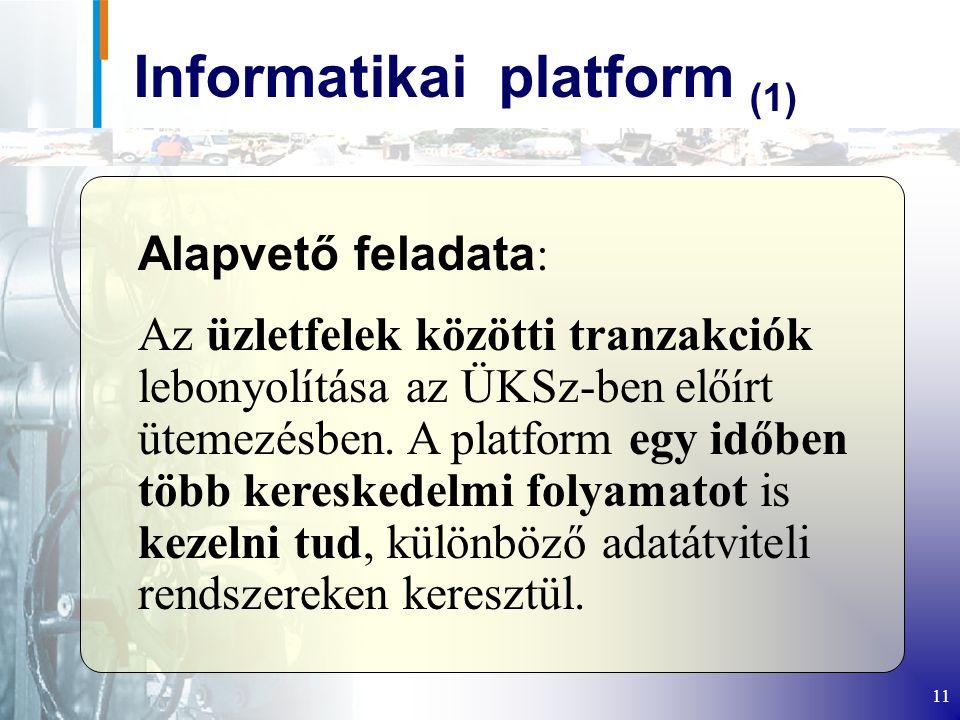 11 Informatikai platform (1) Alapvető feladata : Az üzletfelek közötti tranzakciók lebonyolítása az ÜKSz-ben előírt ütemezésben.