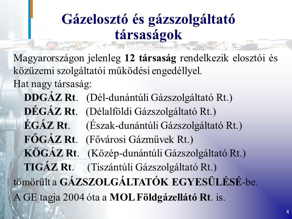 4 Gázelosztó és gázszolgáltató társaságok Magyarországon jelenleg 12 társaság rendelkezik elosztói és közüzemi szolgáltatói működési engedéllyel.