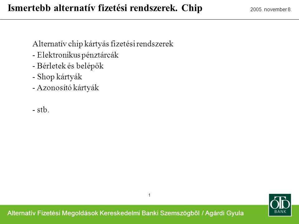 Alternatív Fizetési Megoldások Kereskedelmi Banki Szemszögből / Agárdi Gyula 2005. november 8. 1 Alternatív chip kártyás fizetési rendszerek - Elektro