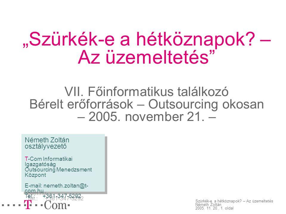 """Szürkék-e a hétköznapok? – Az üzemeltetés Németh Zoltán 2005. 11. 20., 1. oldal """"Szürkék-e a hétköznapok? – Az üzemeltetés"""" VII. Főinformatikus találk"""