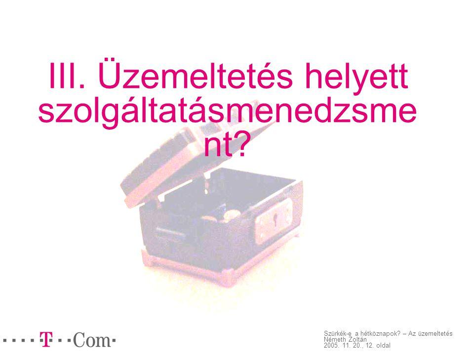 Szürkék-e a hétköznapok.– Az üzemeltetés Németh Zoltán 2005.