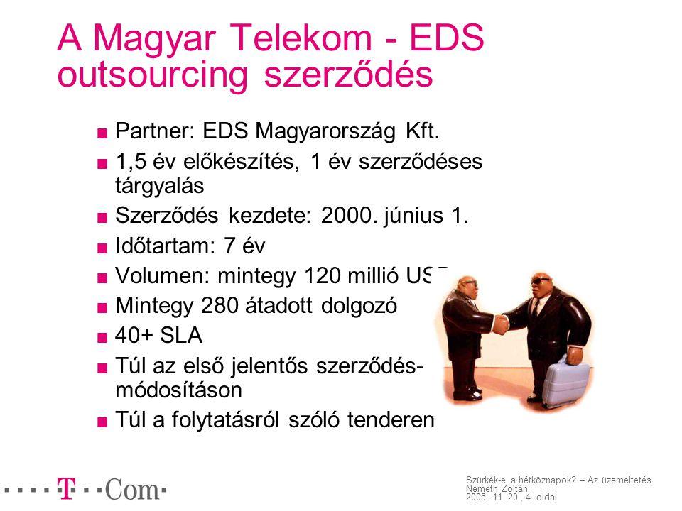 Szürkék-e a hétköznapok? – Az üzemeltetés Németh Zoltán 2005. 11. 20., 4. oldal A Magyar Telekom - EDS outsourcing szerződés  Partner: EDS Magyarorsz