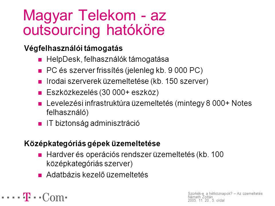 Szürkék-e a hétköznapok? – Az üzemeltetés Németh Zoltán 2005. 11. 20., 5. oldal Magyar Telekom - az outsourcing hatóköre Végfelhasználói támogatás Hel