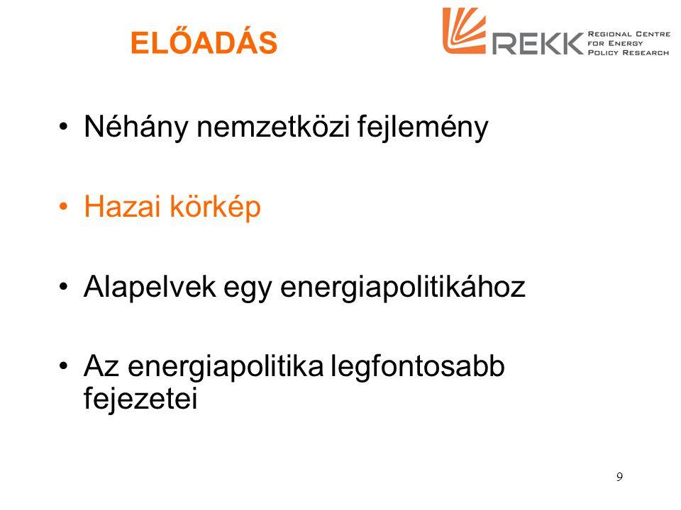 9 ELŐADÁS Néhány nemzetközi fejlemény Hazai körkép Alapelvek egy energiapolitikához Az energiapolitika legfontosabb fejezetei