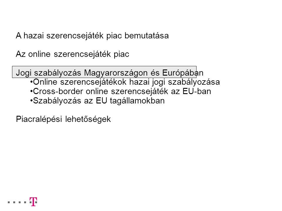 A hazai szerencsejáték piac bemutatása Az online szerencsejáték piac Jogi szabályozás Magyarországon és Európában Online szerencsejátékok hazai jogi s