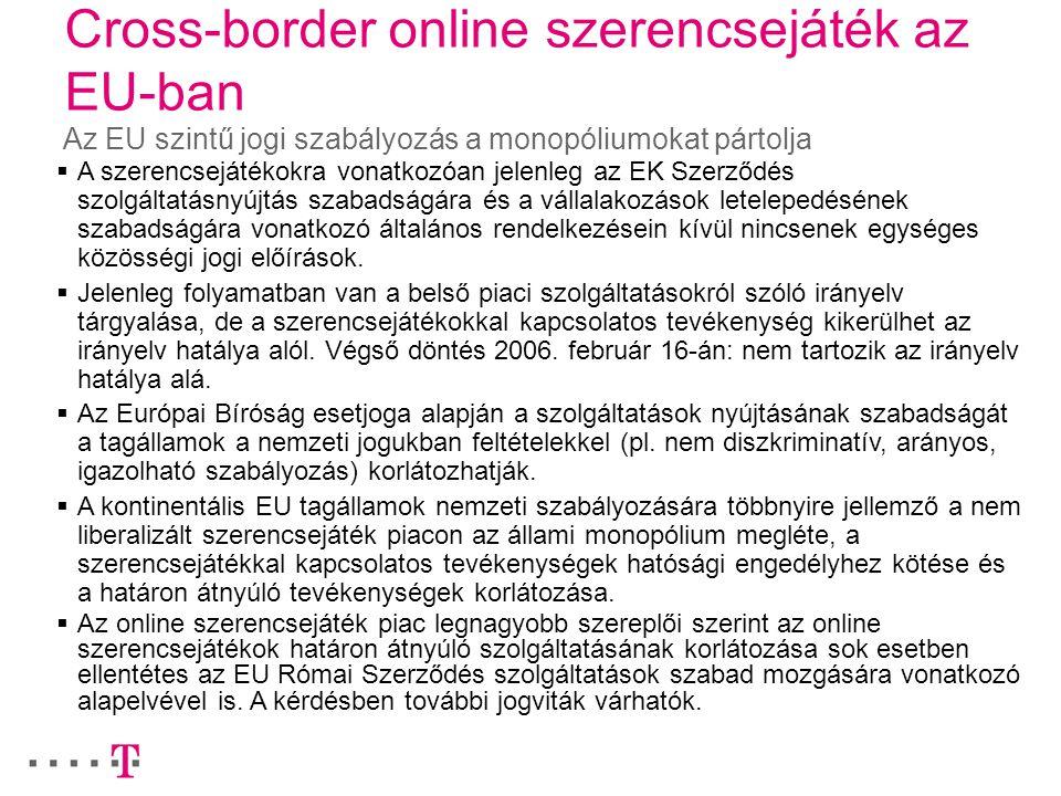 Cross-border online szerencsejáték az EU-ban Az EU szintű jogi szabályozás a monopóliumokat pártolja  A szerencsejátékokra vonatkozóan jelenleg az EK