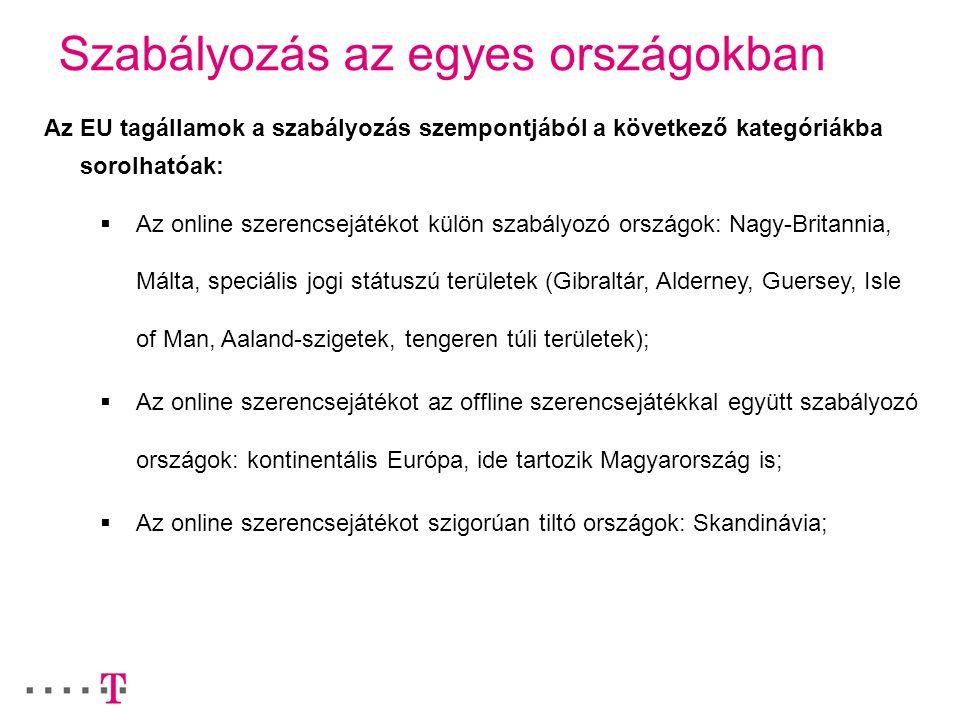 Szabályozás az egyes országokban Az EU tagállamok a szabályozás szempontjából a következő kategóriákba sorolhatóak:  Az online szerencsejátékot külön