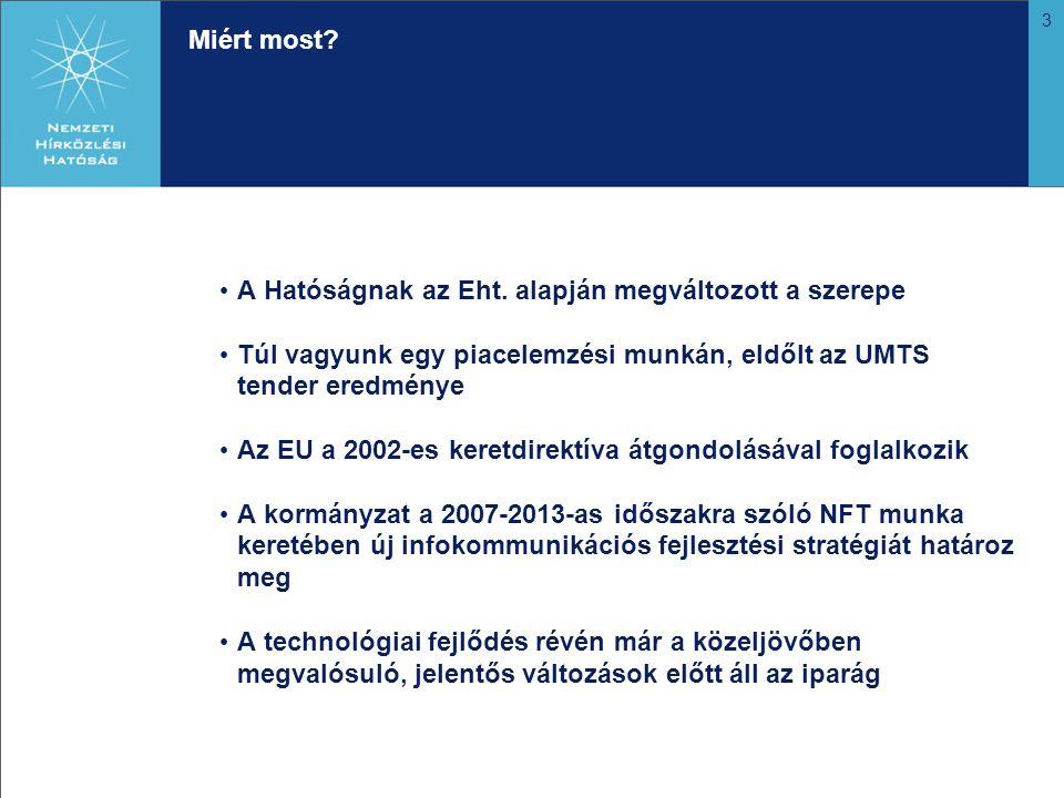 3 Miért most? A Hatóságnak az Eht. alapján megváltozott a szerepe Túl vagyunk egy piacelemzési munkán, eldőlt az UMTS tender eredménye Az EU a 2002-es