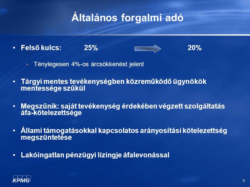 3 Általános forgalmi adó Felső kulcs: 25% 20% Ténylegesen 4%-os árcsökkenést jelent Tárgyi mentes tevékenységben közreműködő ügynökök mentessége szűkül Megszűnik: saját tevékenység érdekében végzett szolgáltatás áfa-kötelezettsége Állami támogatásokkal kapcsolatos arányosítási kötelezettség megszüntetése Lakóingatlan pénzügyi lízingje áfalevonással