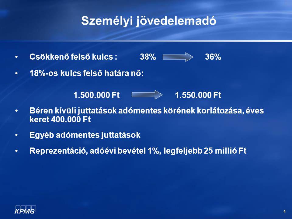 5 Társadalombiztosítási járulékok Járulékalap fogalmának kibővülése Természetbeni juttatások személyi jövedelemadóval növelt összege (2005.