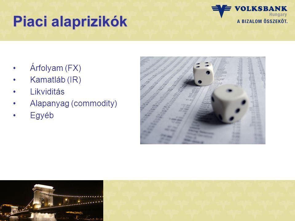 Piaci alaprizikók Árfolyam (FX) Kamatláb (IR) Likviditás Alapanyag (commodity) Egyéb