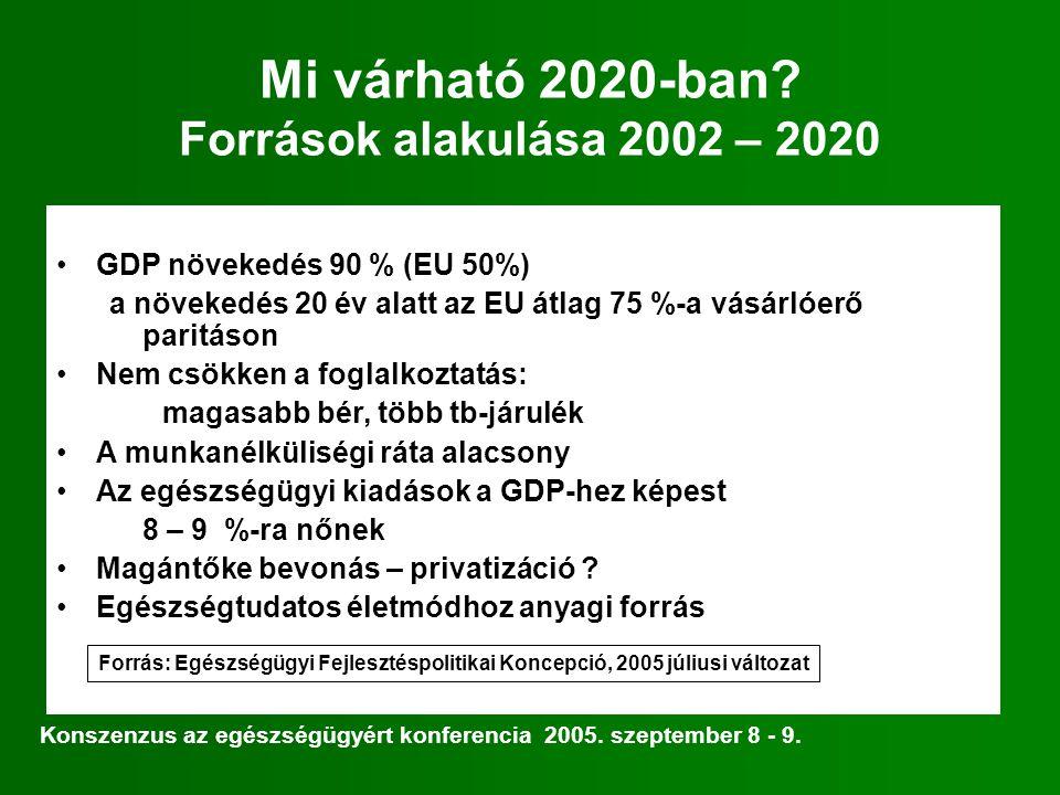 Mi várható 2020-ban? Források alakulása 2002 – 2020 GDP növekedés 90 % (EU 50%) a növekedés 20 év alatt az EU átlag 75 %-a vásárlóerő paritáson Nem cs