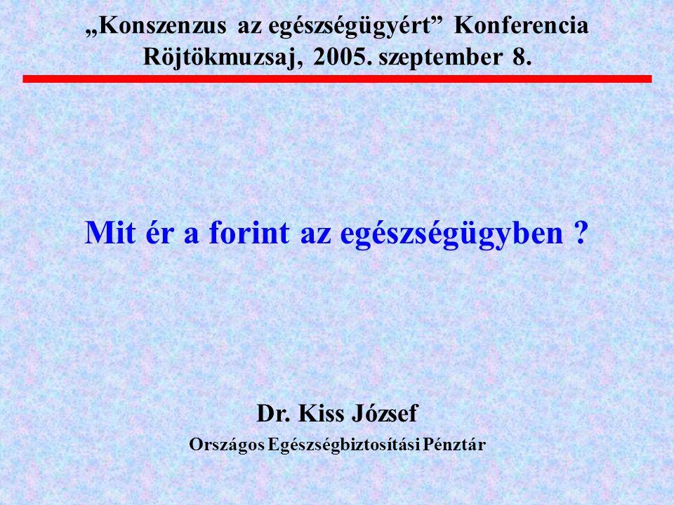 """Mit ér a forint az egészségügyben ? Dr. Kiss József Országos Egészségbiztosítási Pénztár """"Konszenzus az egészségügyért"""" Konferencia Röjtökmuzsaj, 2005"""