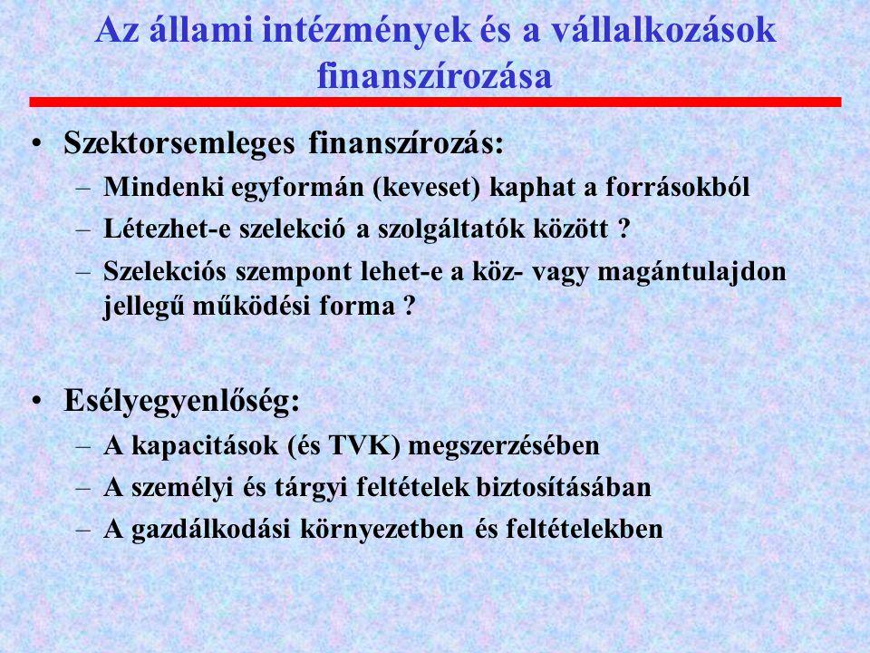Az állami intézmények és a vállalkozások finanszírozása Szektorsemleges finanszírozás: –Mindenki egyformán (keveset) kaphat a forrásokból –Létezhet-e