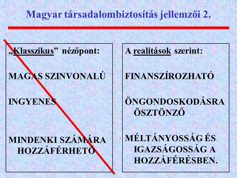 """Magyar társadalombiztosítás jellemzői 2. """"Klasszikus"""" nézőpont: MAGAS SZINVONALÚ INGYENES MINDENKI SZÁMÁRA HOZZÁFÉRHETŐ A realitások szerint: FINANSZÍ"""