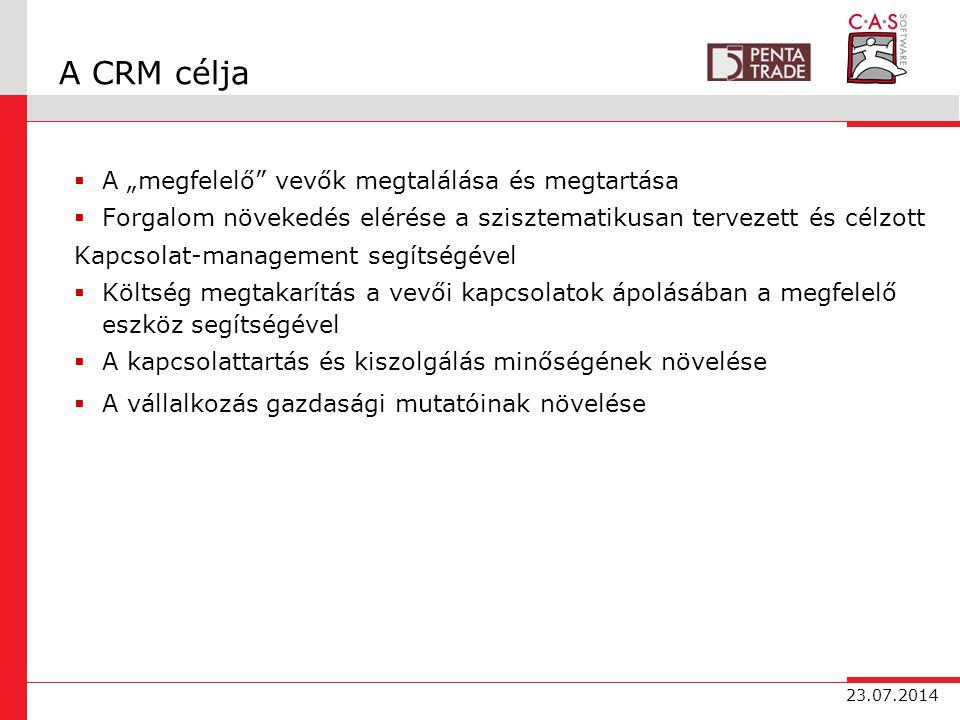 """23.07.2014 A CRM célja  A """"megfelelő vevők megtalálása és megtartása  Forgalom növekedés elérése a szisztematikusan tervezett és célzott Kapcsolat-management segítségével  Költség megtakarítás a vevői kapcsolatok ápolásában a megfelelő eszköz segítségével  A kapcsolattartás és kiszolgálás minőségének növelése  A vállalkozás gazdasági mutatóinak növelése"""