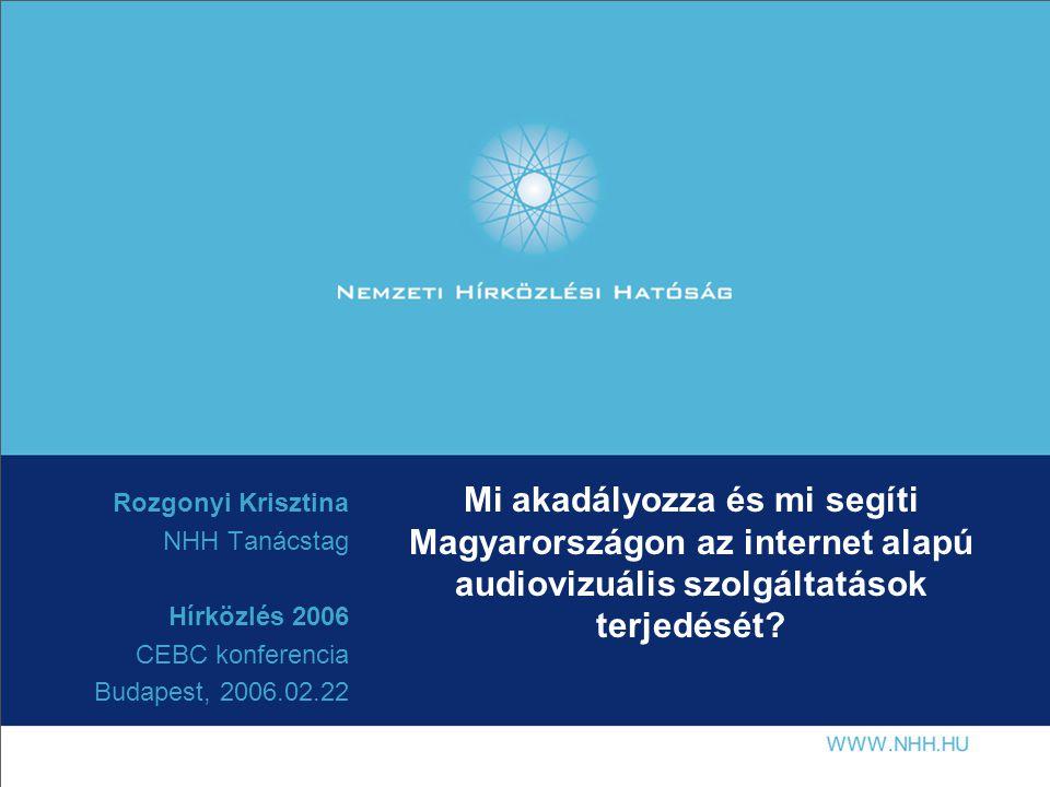 Mi akadályozza és mi segíti Magyarországon az internet alapú audiovizuális szolgáltatások terjedését.