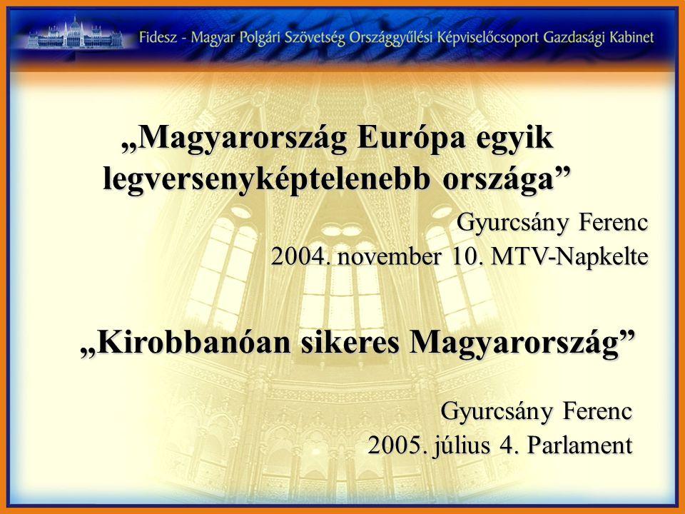 """""""Magyarország Európa egyik legversenyképtelenebb országa"""" Gyurcsány Ferenc 2004. november 10. MTV-Napkelte """"Kirobbanóan sikeres Magyarország"""" Gyurcsán"""