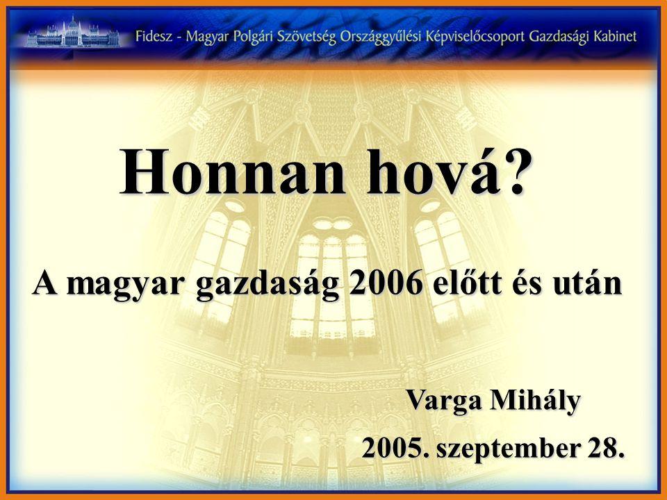 Honnan hová? A magyar gazdaság 2006 előtt és után Varga Mihály 2005. szeptember 28. 2005. szeptember 28.